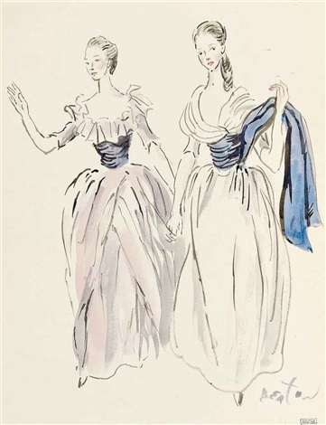 costume design of two young girls for the gainsborough girls a young girl in white dress with blue sash the gainsborough girls pair by cecil beaton