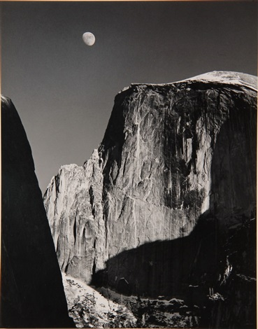 half dome and moon yosemite national park california by ansel adams