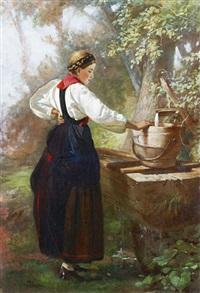 jeune paysanne à la fontaine by johann-joseph geisser