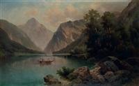see in den alpen mit ruderbooten by anton pick