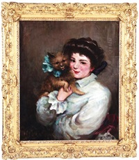 portrait of young lady with prized terrier by james carroll beckwith