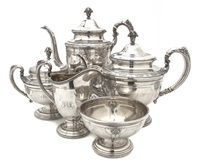 tea set in louis xiv pattern (5 pieces) by towle silver