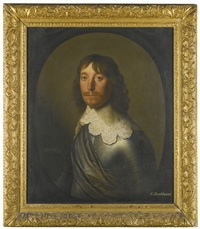 portrait of a gentleman, head and shoulders, with a grey sash around his armour by gerrit van honthorst