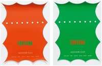 fontana. konvolut von zwei plakaten der galerie alexandre iolas, new york/paris/genf/mailand/rom/madrid (2 works) by lucio fontana