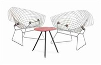 a pair of chrome-steel diamond chairs (3 works) by harry bertoia
