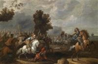 schlacht zwischen kaiserlichen und schwedischen truppen (+ another, similar; pair) by johann philipp lemke