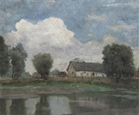 hungarian landscape with farmhouse near the water by janos laszlo aldor