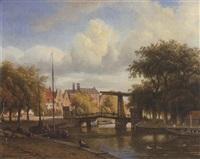 blick auf eine gracht mit zugbrücke (in amsterdam?) by arnoldus johannes eymer