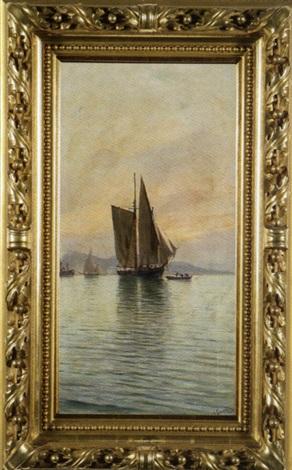 fischerboote und dampschiff vor der küste by j gartner