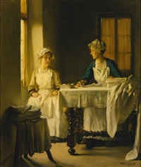 interior with two women folding sheets by joseph bail