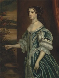 portrait of barbara villiers, countess of castlemaine, 1st duchess of cleveland (1640-1709), three-quarter-length, in a blue dress and pearl necklace, before a draped curtain by sir peter lely
