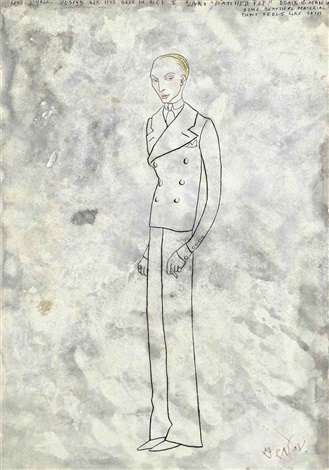 design for rene st galls suit for act i the watched pot by cecil beaton