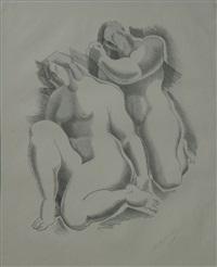 zwei weibliche akte (from dritte jahresgabe des kreises graphischer künstler und sammler) by alexander archipenko