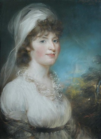 portrait of mrs sarah clarkson in a white dress and headdress by john russell