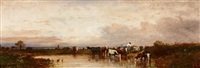 viehherde am fluss in weiter, abendlicher landschaft by leon victor dupré