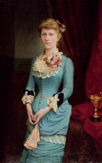 portrait einer jungen dame mit fächer by karl wilhelm söhn