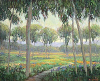 eucalyptus grove with poppies and lupine by william dorsey