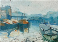 boats on the river seine by paul nurdin