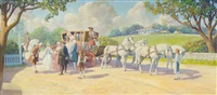 arrival of 18th century dignitaries by stagecoach drawn by four white horses and accompanied by attendants by edward burns quigley