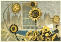 sunflowers and new york by junichiro sekino