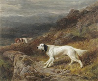 gundogs and sportsmen shooting upon a moor, mountains in the distance by george earl