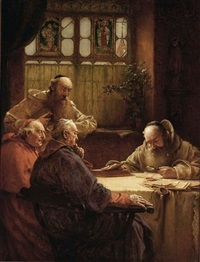 monks and a cardinal in a library by richard linderum