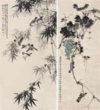 蜻蜓葡萄 竹雀图 (2 works) by liu zijiu