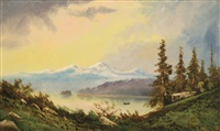 landscape depicting the puget sound with indians in a canoe and mountains in the background by ransom gillet holdredge