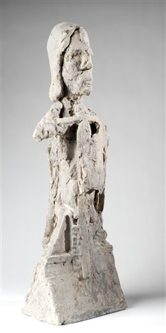 depicting an expressionistic half fleshed figure on an architecturally stylized base by jean pierre larocque