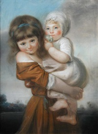 portrait of miss elizabeth earle and miss frances lydia cuthberta earle, daughters of joseph earle, as children by john russell