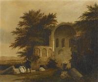 biedermeierliches paar vor romanischer kirchenruine by antoine xavier gabriel de gazeau