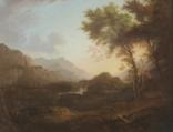 scottish landscape with trees besides a bridge by alexander nasmyth