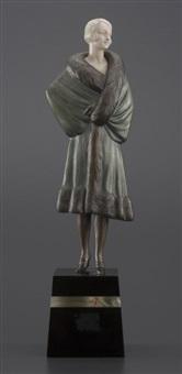 jeune femme au manteau de fourrure by georges l. repaire rigot