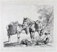 rastender bauer mit pferd, esel und hund by friedrich (maler müller) müller