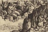 der reiche mann in der hölle und lazarus im himmel, pl. (from parabel vom reichen mann und armen lazarus) by georg pencz