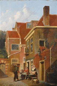figures in the streets of a dutch town by joseph bles