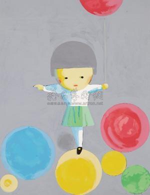 气球妹 丝网 版画 版数250 the balloon girl by liu ye
