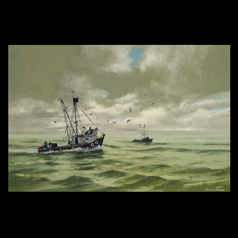 fishing boats at sea by darwin duncan