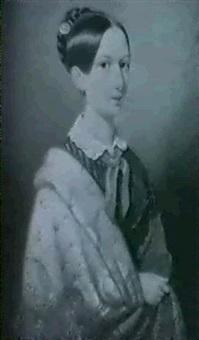 portraet einer jungen frau in blauem, gestreiftem      kleid und kaschmirshawl by josef zumsande