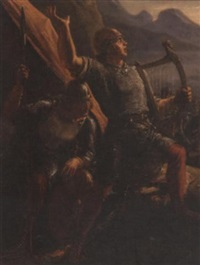 viking with a harp by holger peter roed