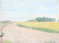 scenery with road, fields and houses by joannis kristiansen