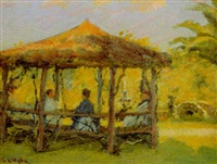 figures in a gazebo by louis charles vogt