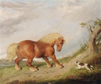 a chestnut horse startled by a terrier in a landscape by martin theodore ward