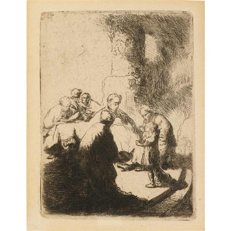 christ disputing with the doctors small plate by rembrandt van rijn