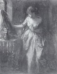 dame prüft ihr spiegelbild by pierre cabanel