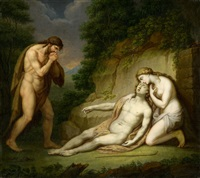 mythologische szene mit beweinung by janos mihaly hesz