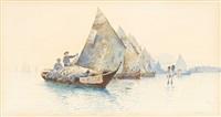 fischerboote in der lagune von venedig (pair) by jules gachet