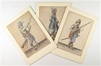 soldato portabandiera, soldato con lo schioppo la lancia e la bandiera, di profilo and soldato con lo sch (..) (3 works) by jacques de gheyn ii