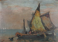 boote in der lagune by august lemmer