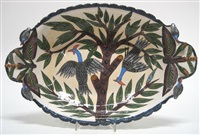 two-handled dish (painted by phumelele) by ardmore ceramics